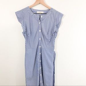 LOFT Blue and White Striped Button Down Dress
